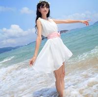 Summer Dress 2014 Casual Bohemian Hem Asymmetrical Ruffle With Belt Chiffon Beach Holiday Sexy Elegant Short Party Dresses A 02