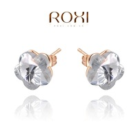 Wholesale ROXI Fashion Accessories Jewelry Gold Plated Full CZ Diamond with SWA Eelement  Stud Earrings for Women