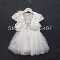 Baby Girls Clothing Set Children set kids suits yarn dress halter coat three piece set jacket+dress dot heart tutu dress