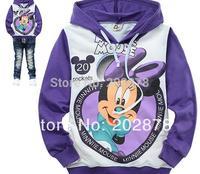 Children  1pcs kids long-sleeved t-shirt  Purple Mickey Minnie Hello  As Boy  free shipping