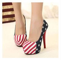 Free shipping Women heels 5 inch Red bottom high heels 15cm US American flag platformhigh heel shoes single  shoes  women pumps