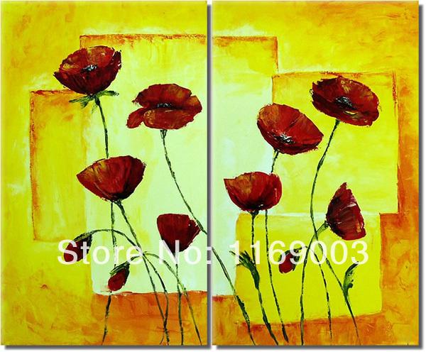 Grande 2 peça parede arte arte abstrata barato red poppy flower pintura a óleo amarelo sobre tela(China (Mainland))