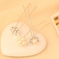 Fashion Sweet girl Western Rhinestone pearl ball hair Pin jewelry hair Accessories wholesale !