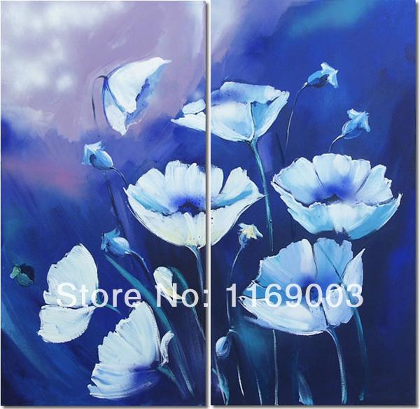 grande painel wall arte abstrata da arte baratos flor de papoula azul pintura a óleo sobre tela para quarto sala de casa decoração(China (Mainland))