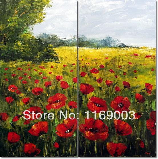 grande arte da parede do painel da arte abstrata barato papoila vermelha pintura a óleo da flor na lona para o quarto sala de estar decoração de casa(China (Mainland))