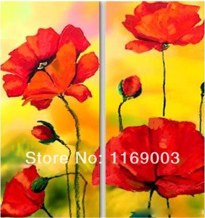 grande arte da parede 2 pedaço da arte abstrata barato papoila vermelha pintura a óleo da flor na lona para o quarto sala de estar decoração de casa(China (Mainland))