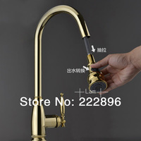 Copper Sink Gold Single Lever Kitchen Faucet Pull Out Bar Mixer Kitchen Water Tap Torneira Cozinha Grifos Cocina Lanos Dragon