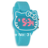 2014 New Cute Pink Hello Kitty Led Digital Watch For Ladies Fashion Rubber Watches 9colors  30pcs/lot