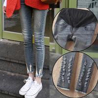 2014 spring maternity clothing maternity denim pants korea hole jeans  trousers