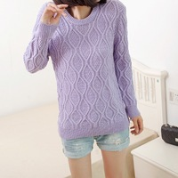 2014 spring women's plate solid color loose vintage rhombus o-neck long-sleeve sweater outerwear female pullover