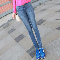 2014 spring water wash wearing white women's jeans skinny pants pencil pants