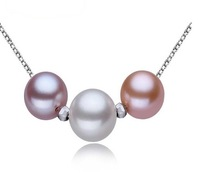 wholesale AAAA 9-10mm 3pcs multicolor  perfect round genuine freshwater pearl necklace 126