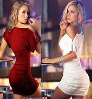 4 Colors Women Fashion Shoulder Zipper Slash Neck Empire Waist Slim Tight Bodycon Sexy Clubwear Mini Party Cocktail Dress S-XXL