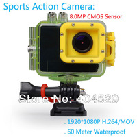 Sports Camera F28 12.0MP 1080P H.264 MOV 4X Zoom Loop Record Anti Shake 2.0 inch screen with Russian Spaish French Hungarian