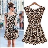 Dresses New Fashion 2014 Spring Summer Women Causal Leopard Dress Short Sleeve Milk Silk Sexy Plus Size dress Woman Clothes