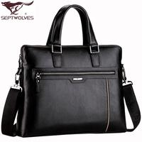 Septwolves cross-body bag men handbag male horizontal business bag briefcase genuine leather man bag first layer of cowhide bag