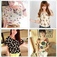 NEW CHIC!  Hot Sale Women Bird Colorful Batwing Sleeve Chiffon Shirt, Loose Blouse, Casual Tops, Q0022