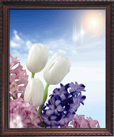 Free shipping  Diy diamond painting 3d lily round diamond cross stitch home decoration paintings rhinestone painting