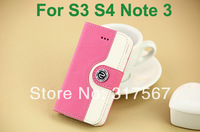 20pcs/Lot Good Quality PU Leather Case Design Credit Card Holder Cover Case For Samsung Galaxy S3 i9300 S4 i9500 Note 3 N9000