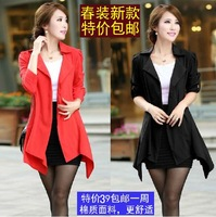 2014 spring and autumn hot-selling medium-long spring outerwear suit women's blazer trench