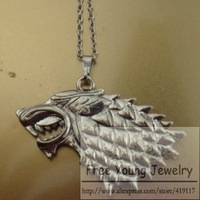 Game Of Thrones New Arrival Wolf Head Chain Long Necklace Exaggerated Movie Fashion Style Men Jewelry Drop Pendant Necklaces