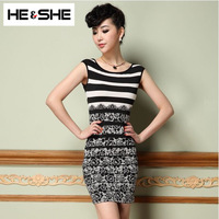 Stripe Sexy Elastic Short Black Dress 2014 Spring Fashion Women'S Noble Ladies Slim Plus Size Dress Sleeveless Female European
