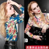 New arrival 2014 spring fashion personality chiffon shirt female slim long-sleeve shirt print plus size