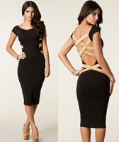 Dropshipping New Womens' Classic Black Back Cross Stretchy Bodycon Slimming Knee-Length Party Cocktail Pencil Dress S-XL