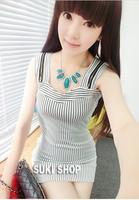 Sexy women's 2014 spring fashion stripe spaghetti strap slim hip slim one-piece dress