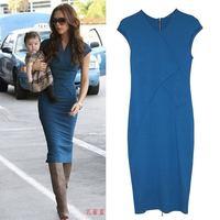 Fashion 2014 New Summer Women Elegant V-Neck Wear to work Full Zipper Bodycon Knee-Length Pencil Casual Dress Plus Size XS-XL