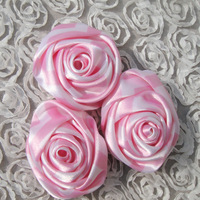 Free shipping 12 pcs gorgeous satin rose flower pink baby girls pretty satin fabric KP-SF07