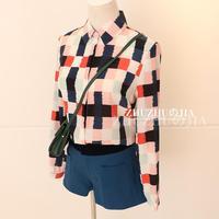 Spring 2014 fashion color block color block decoration basic plaid shirt chiffon shirt female long-sleeve