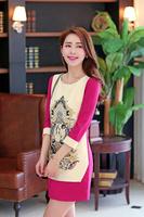 2014 fashion spring and autumn all-match women's fashion vintage print ol slim a-line Dress