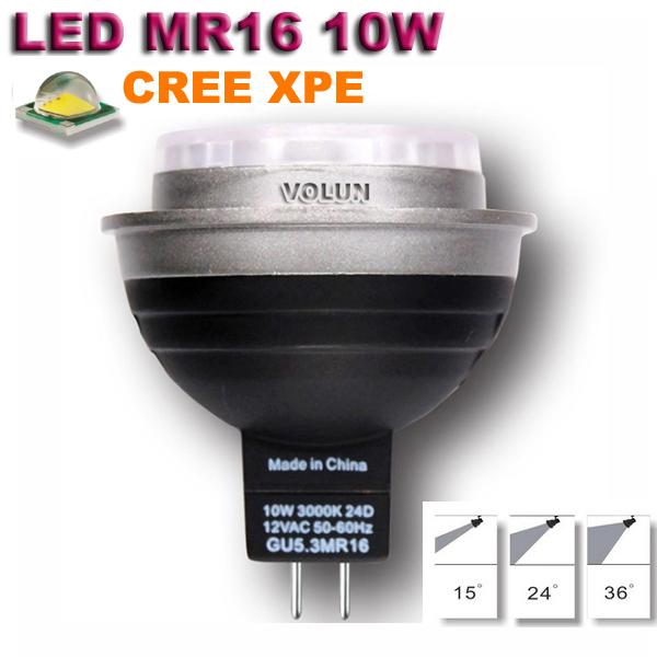 Spotlight 12V MR16 GU5.3 base 10W CREE XPE LED Ceiling Light as home decoration lighting and led living room ceiling lighting(China (Mainland))