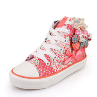 2015 shoes  spring shoes canvas shoes female high bow girl child  1