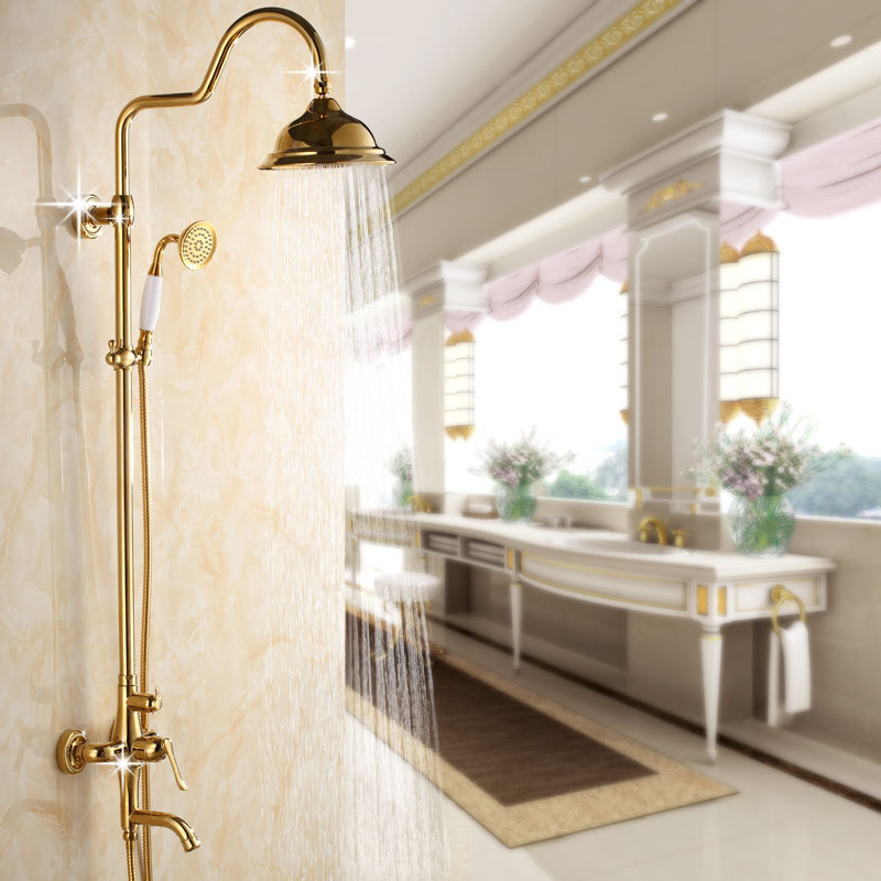 Set 3 features gilded rainshower shower head copper bathroom faucets(China (Mainland))