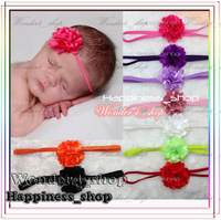 "Hair accessory 120pcs Wholesale Infant baby girl 2"" Tull gauze Zebra solid satin mesh flowers with skinny headband 21colors"