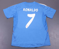 Free shipping 2013-14 #7 RONALDO Real Madrid away blue football jersey top thailand quality Real Madrid away jersey