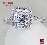 3 carat Princess Cut fine silver sona Simulated stone promise Engagement rings for women,14k white gold plated Wedding Ring