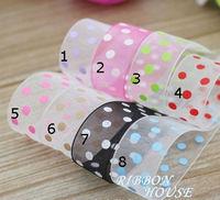 """16mm dot print ribbon free shipping 5/8"""" dots printed organza ribbons16mm pink printing tape 10yards webbing packing accessories"""