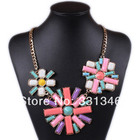 1x Retro Fashion Trendy 18K GP Multi-Color Beads European Jewelry Twist Chain Choker Statement Bib Necklace  MN10282
