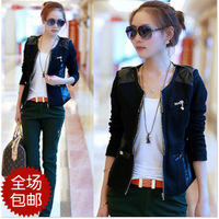 2014 spring honey women's clothes vintage zipper decoration patchwork short jacket outerwear