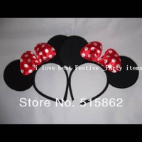freeshipping Promotion Mickey Minnie Children headband Mouse Ears Hairband, Birthday Party Boys/Girl/Adult Hair bands