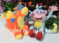 Free shipping 2pc selling Dora doll The Explorer, 25cm Boots,20cm Fox, ,adventure time baby toy kids toys children gift