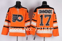 Discount!High Quality Cheap Brand Hockey Philadelphia Flyers 17 Wayne Simmonds Orange with winter classic pach jersey size 48-56