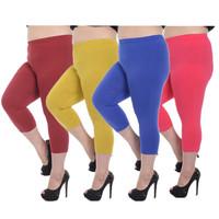 Wholesale Capris Leggings Plus Size Fat Women Fashion Candy Colors Half Length Thin Summer Capri Pants Elastic Large Size