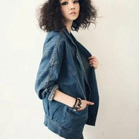 Spring 2014 fashion denim jacket vintage denim outerwear female loose plus size female