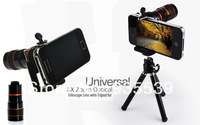 free shipping for samsung & ALL TYPE  mobile phone special effect lens 8 8x telescope telephoto lens ipone galaxy s4 with tripod