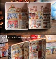 mini Tin box receive props Creative home decoration British wind(6 style/set)
