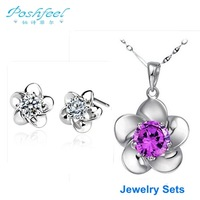 Luxury PF brand fashion ladies 925 silver with platinum plated crystal Earrings and Necklace sakura flower jewelry sets